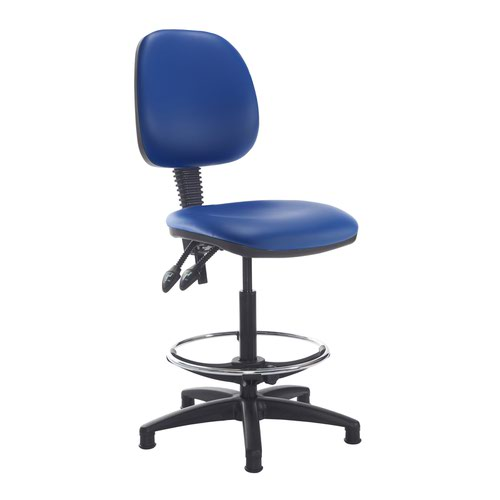 Jota draughtsmans chair with no arms - Ocean Blue vinyl