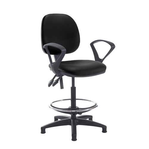 Jota draughtsmans chair with fixed arms - Nero Black vinyl