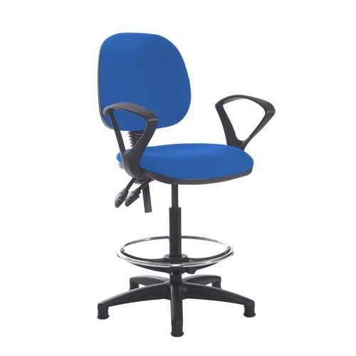 Jota draughtsmans chair with fixed arms - Scuba Blue