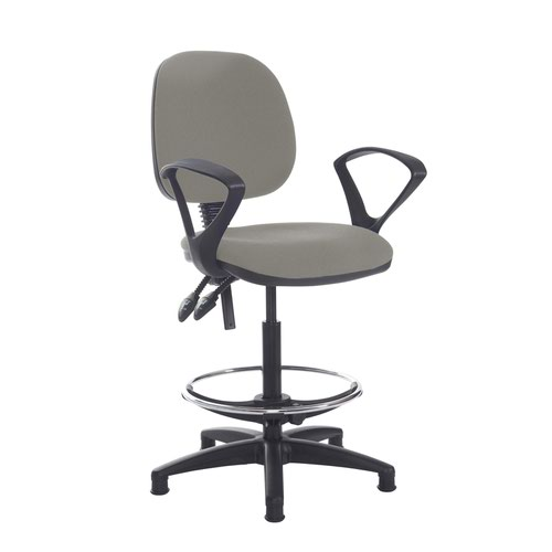 Jota draughtsmans chair with fixed arms - Slip Grey