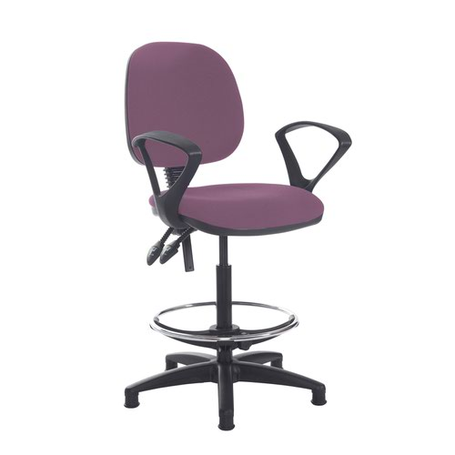 Jota draughtsmans chair with fixed arms - Bridgetown Purple