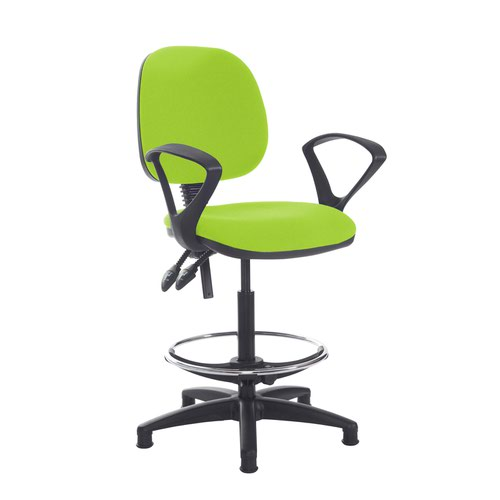 Jota draughtsmans chair with fixed arms - Madura Green