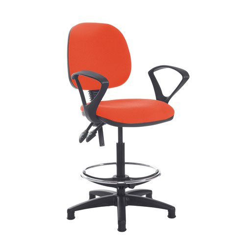 Jota draughtsmans chair with fixed arms - Tortuga Orange