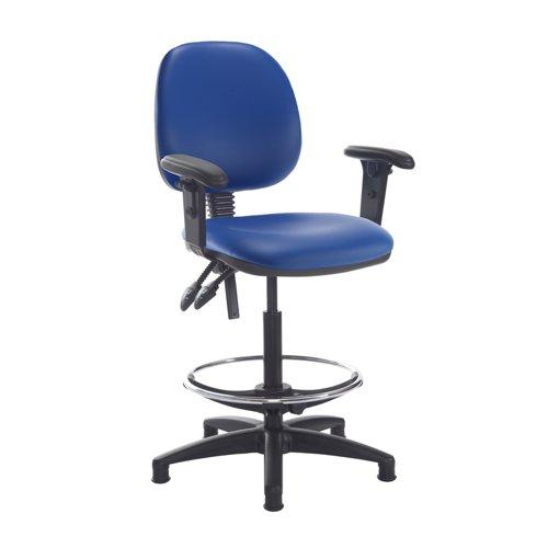 Jota draughtsmans chair with adjustable arms - Ocean Blue vinyl