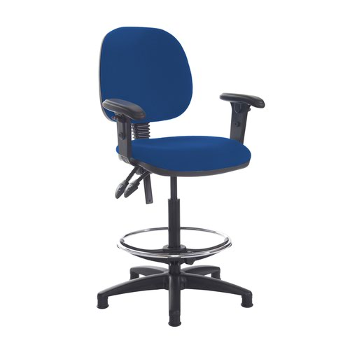 Jota draughtsmans chair with adjustable arms - Curacao Blue