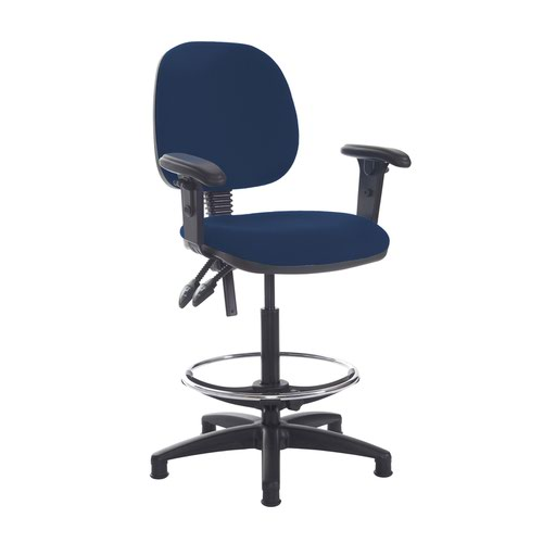 Jota draughtsmans chair with adjustable arms - Costa Blue