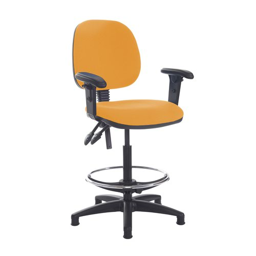 Jota draughtsmans chair with adjustable arms - Solano Yellow
