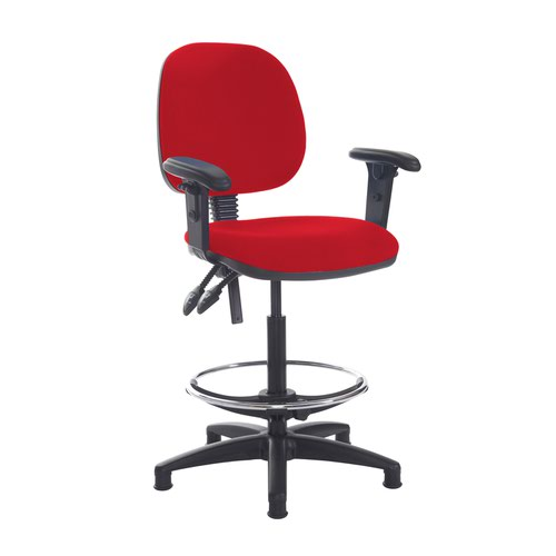 Jota draughtsmans chair with adjustable arms - Panama Red