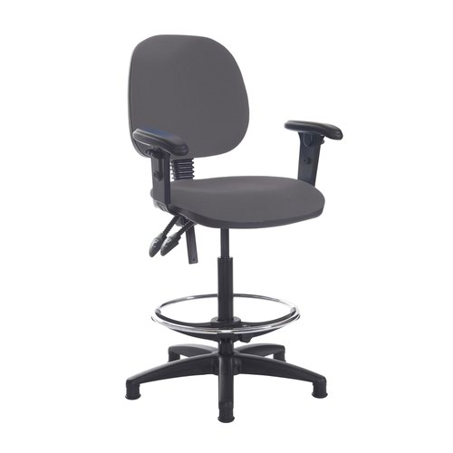 Jota draughtsmans chair with adjustable arms - Blizzard Grey
