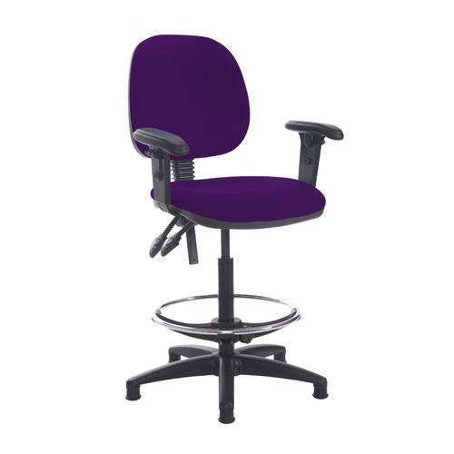 Jota draughtsmans chair with adjustable arms - Tarot Purple