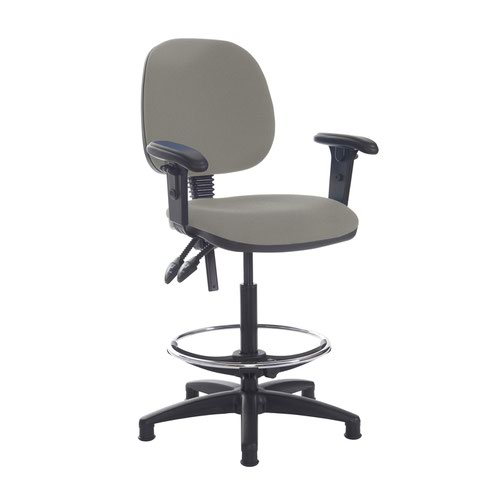 Jota draughtsmans chair with adjustable arms - Slip Grey