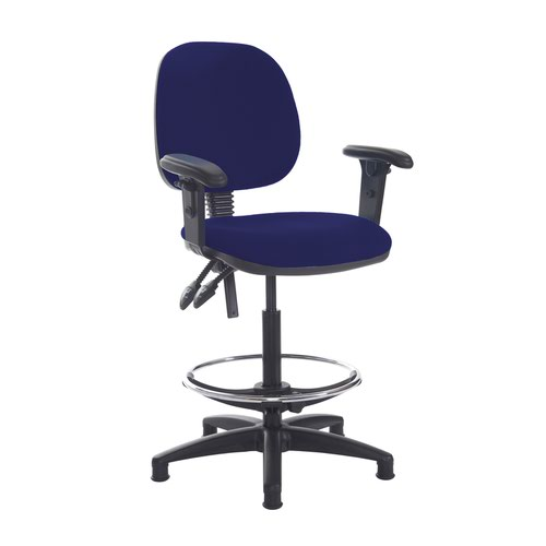 Jota draughtsmans chair with adjustable arms - Ocean Blue