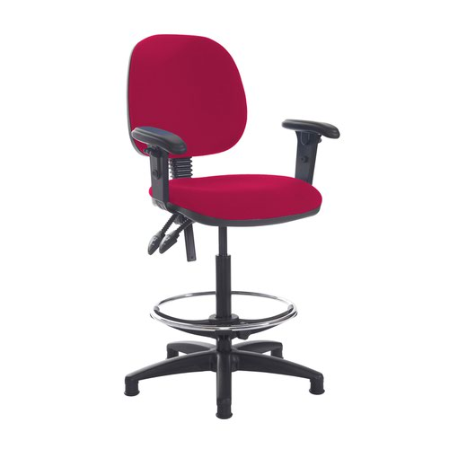 Jota draughtsmans chair with adjustable arms - Diablo Pink