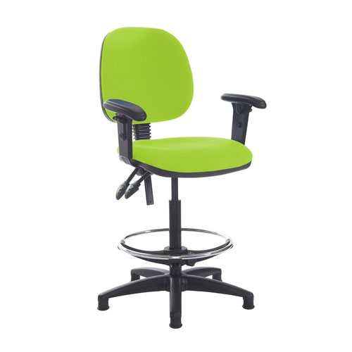 Jota draughtsmans chair with adjustable arms - Madura Green