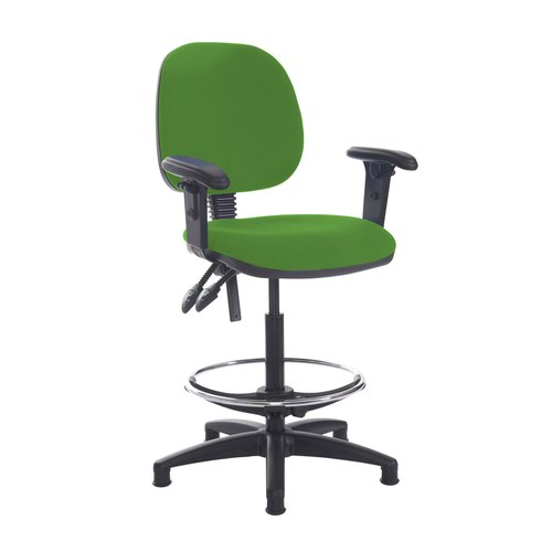 Jota draughtsmans chair with adjustable arms - Lombok Green