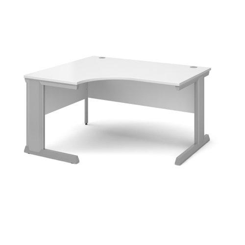 Vivo left hand ergonomic desk 1400mm - silver frame and white top