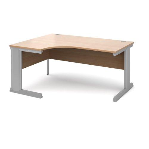 Vivo left hand ergonomic desk 1600mm - silver frame and beech top