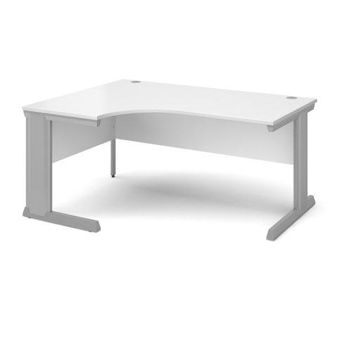 Vivo left hand ergonomic desk 1600mm - silver frame and white top