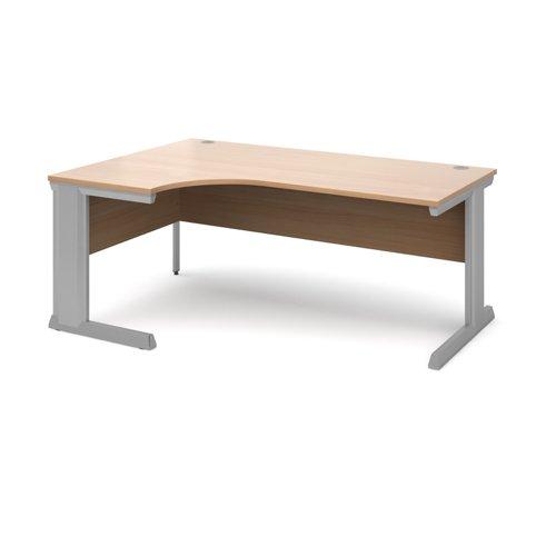 Vivo left hand ergonomic desk 1800mm - silver frame and beech top