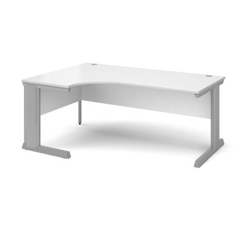 Vivo left hand ergonomic desk 1800mm - silver frame and white top