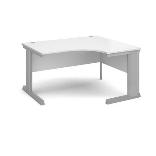 Vivo right hand ergonomic desk 1400mm - silver frame and white top