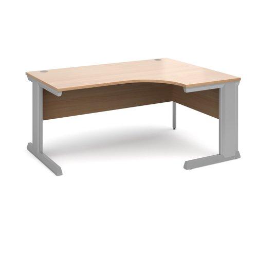 Vivo right hand ergonomic desk 1600mm - silver frame and beech top