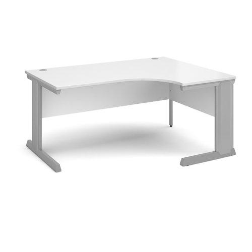 Vivo right hand ergonomic desk 1600mm - silver frame and white top