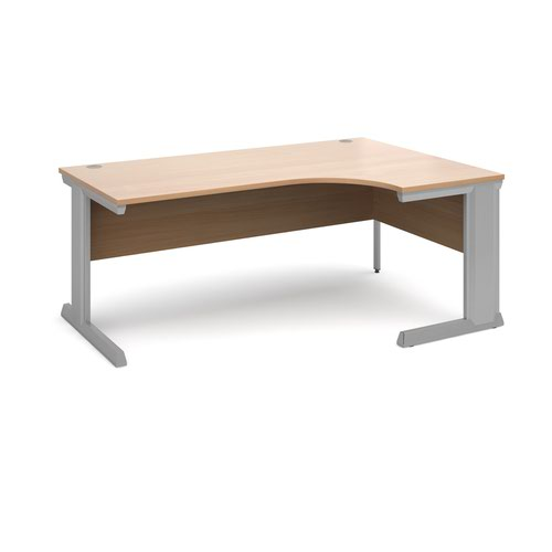 Vivo right hand ergonomic desk 1800mm - silver frame and beech top
