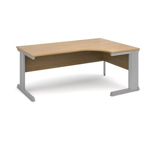 Vivo right hand ergonomic desk 1800mm - silver frame and oak top