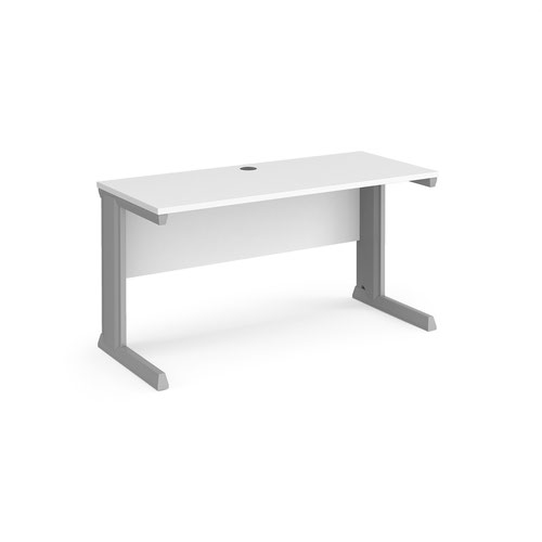 Vivo straight desk 1400mm x 600mm - silver frame and white top