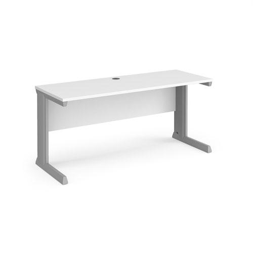 Vivo straight desk 1600mm x 600mm - silver frame and white top
