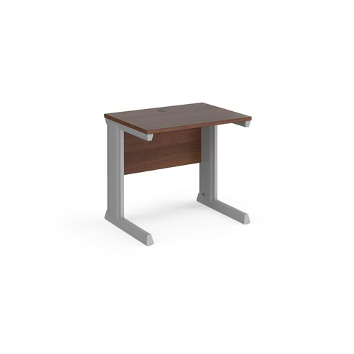 Vivo straight desk 800mm x 600mm - silver frame and walnut top