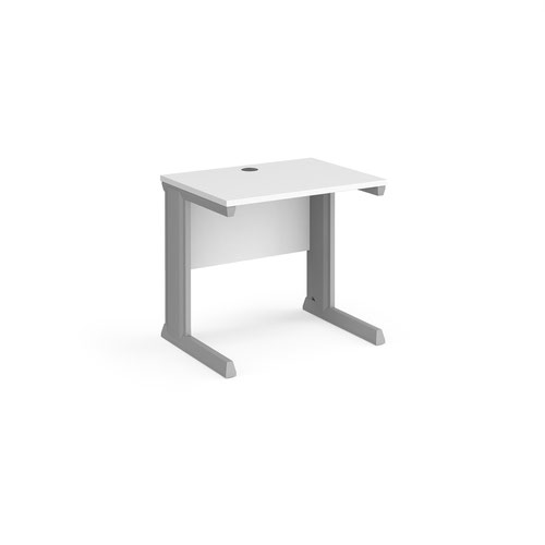 Vivo straight desk 800mm x 600mm - silver frame and white top