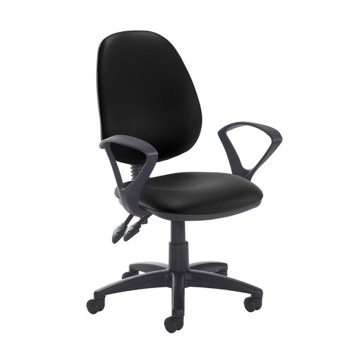 Jota high back PCB operator chair with fixed arms - Nero Black vinyl