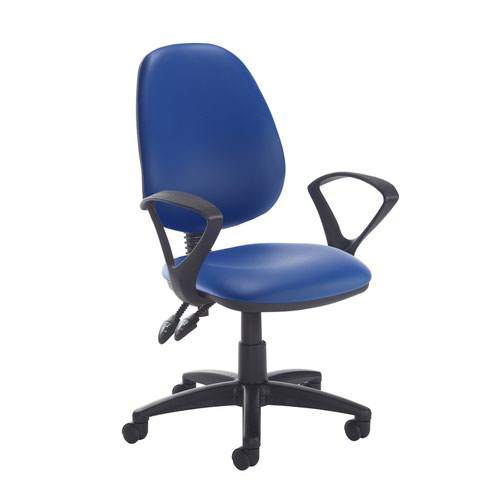 Jota high back PCB operator chair with fixed arms - Ocean Blue vinyl