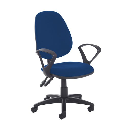 Jota high back PCB operator chair with fixed arms - Curacao Blue