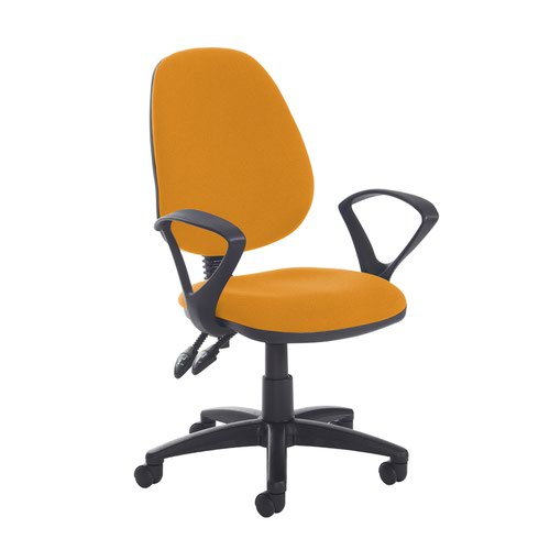 Jota high back PCB operator chair with fixed arms - Solano Yellow