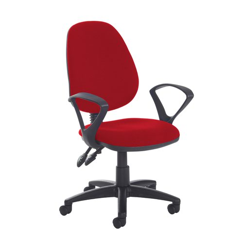 Jota high back PCB operator chair with fixed arms - Panama Red