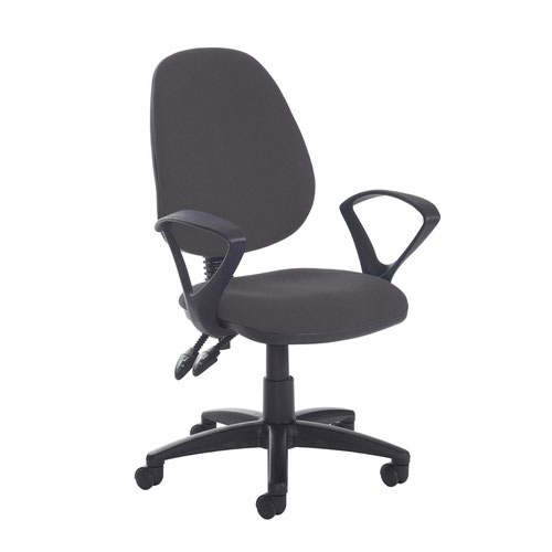 Jota high back PCB operator chair with fixed arms - Blizzard Grey