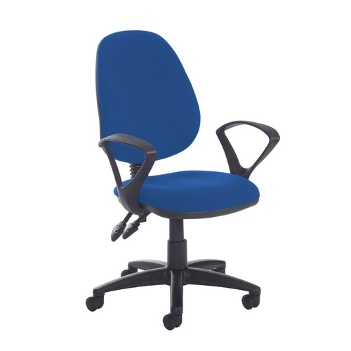 Jota high back PCB operator chair with fixed arms - Scuba Blue