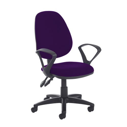 Jota high back PCB operator chair with fixed arms - Tarot Purple