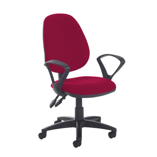 Jota high back PCB operator chair with fixed arms - Diablo Pink