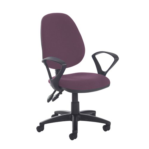 Jota high back PCB operator chair with fixed arms - Bridgetown Purple