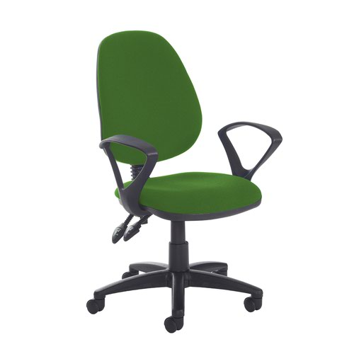 Jota high back PCB operator chair with fixed arms - Lombok Green
