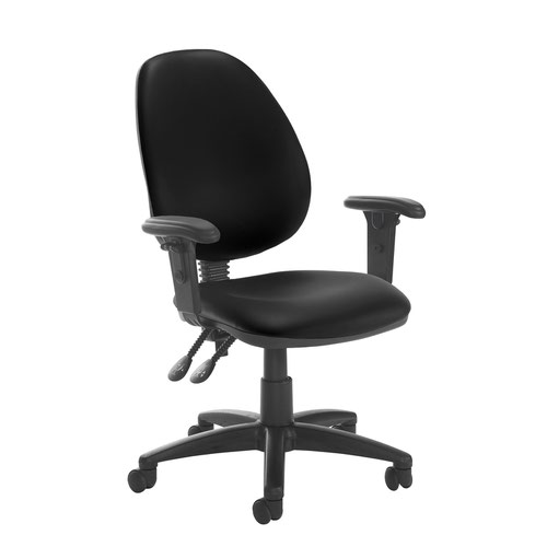 Jota high back PCB operator chair with adjustable arms - Nero Black vinyl