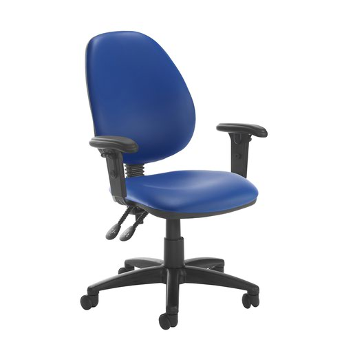 Jota high back PCB operator chair with adjustable arms - Ocean Blue vinyl