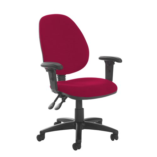 Jota high back PCB operator chair with adjustable arms - Diablo Pink
