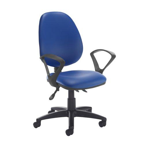 Jota high back asynchro operators chair with fixed arms - Ocean Blue vinyl