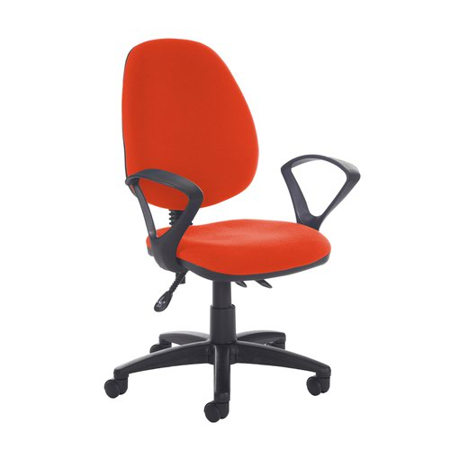 Jota high back asynchro operators chair with fixed arms - Tortuga Orange