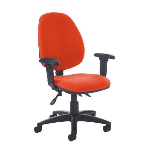 Jota high back asynchro operators chair with adjustable arms - Tortuga Orange